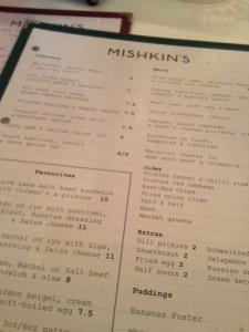 Mishkins  - menu